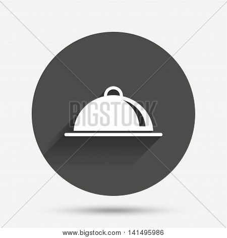 Food platter serving sign icon. Table setting in restaurant symbol. Circle flat button with shadow. Vector