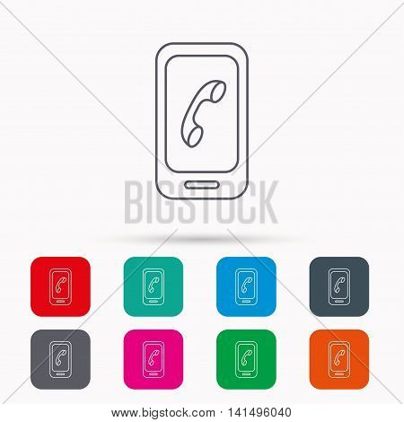 Smartphone icon. Cellphone with touchscreen sign. Linear icons in squares on white background. Flat web symbols. Vector
