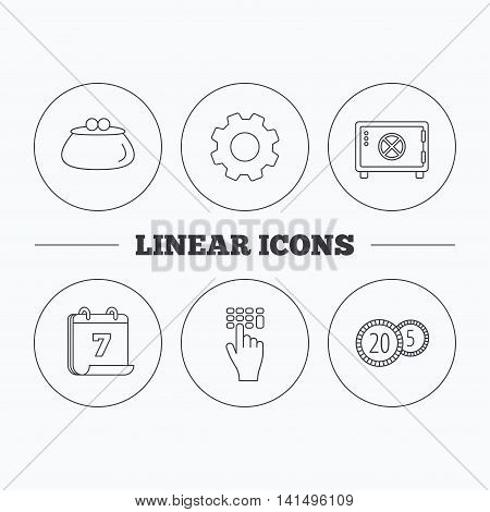 Cash money, safe box and wallet icons. Coins, enter code linear sign. Flat cogwheel and calendar symbols. Linear icons in circle buttons. Vector