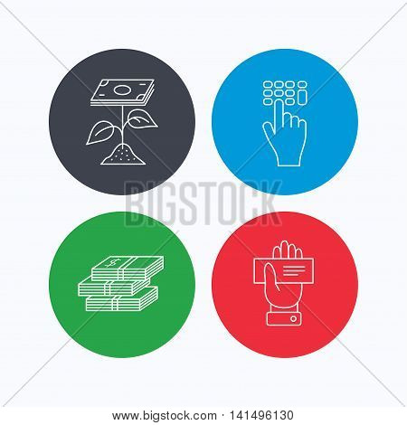Cash money, cheque and profit icons. Enter code linear sign. Linear icons on colored buttons. Flat web symbols. Vector