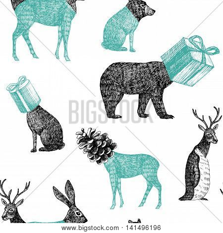 Winter xmas illustration of trendy hand drawn black pencil animals penguin bear rabbit deer heads form of geometric presents and cones. Vector seamless vintage retro pattern sketch white background