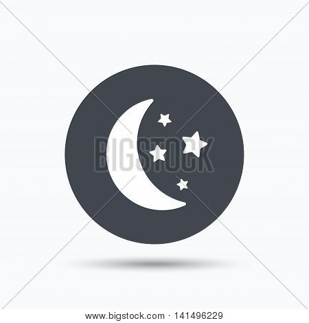 Moon and stars icon. Night sleep symbol. Flat web button with icon on white background. Gray round pressbutton with shadow. Vector