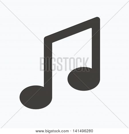 Music icon. Musical note sign. Melody symbol. Gray flat web icon on white background. Vector