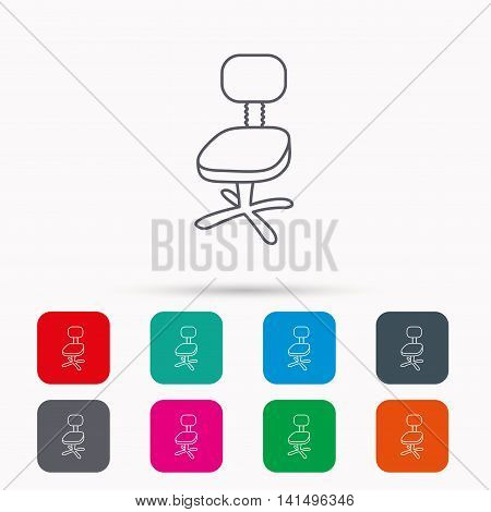 Office chair icon. Business armchair sign. Linear icons in squares on white background. Flat web symbols. Vector