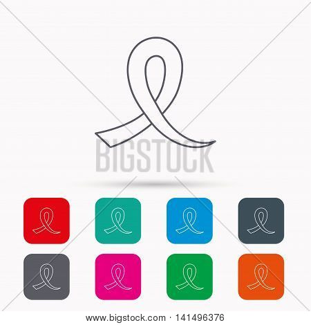 Awareness ribbon icon. Oncology sign. Linear icons in squares on white background. Flat web symbols. Vector