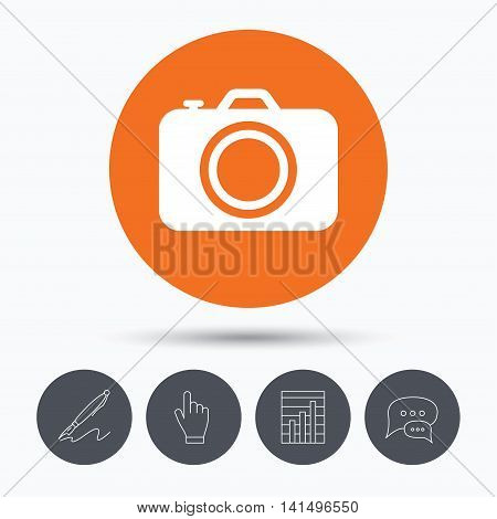 Camera icon. Professional photocamera symbol. Speech bubbles. Pen, hand click and chart. Orange circle button with icon. Vector