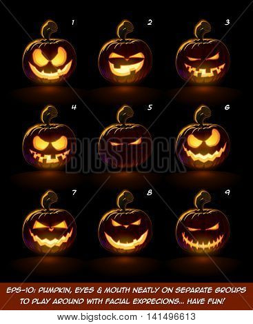Dark Jack O Lantern Cartoon - 9 Mean N Naughty Expressions Set