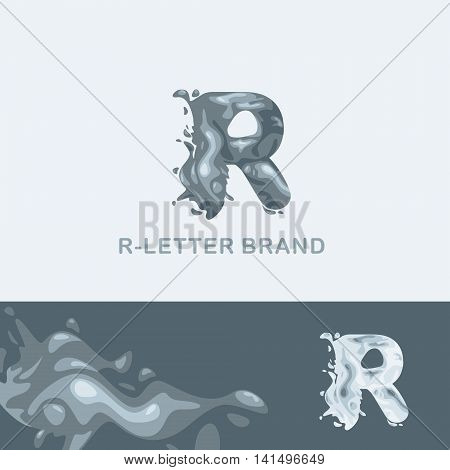 Creative logo for the company: liquid letter R