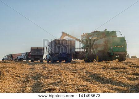 overload of grain harvesting machines in the cargo