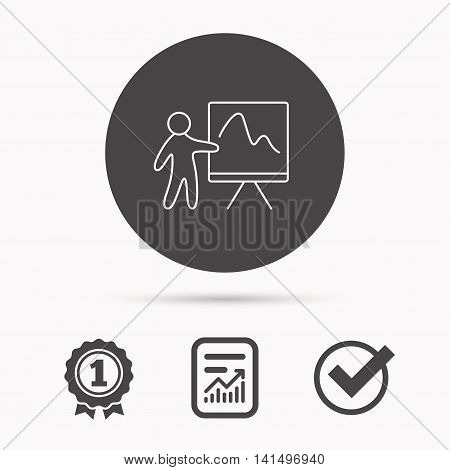 Presentation icon. Statistics chart sign. Report document, winner award and tick. Round circle button with icon. Vector
