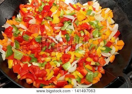 Vegetarian Wok Stir Fry on Barbecue Grill