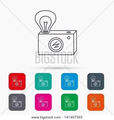 Retro photo camera icon. Photographer equipment sign. Camera with lamp flash. Linear icons in squares on white background. Flat web symbols. Vector