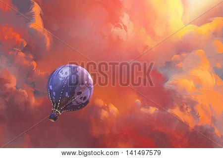 balloon floating in the sky with red clouds, illustration painting
