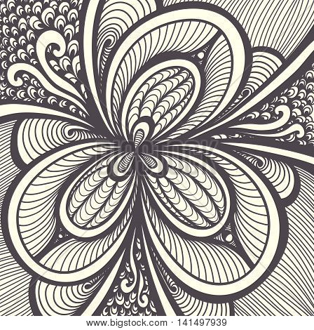 Abstract  Background   with Zen-doodle or  Zen-tangle  pattern black on white for coloring page or relax coloring book or wallpaper or for decorate package clothes