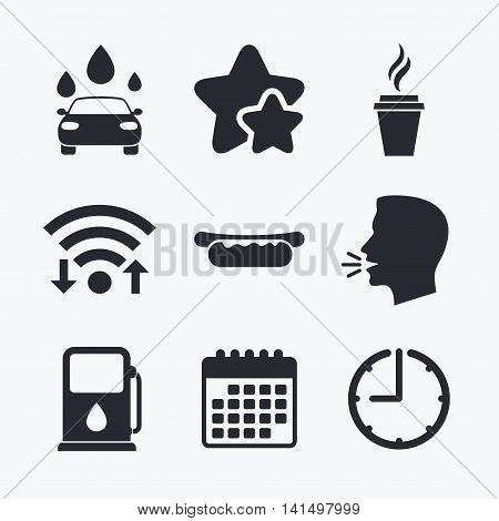Petrol or Gas station services icons. Automated car wash signs. Hotdog sandwich and hot coffee cup symbols. Wifi internet, favorite stars, calendar and clock. Talking head. Vector