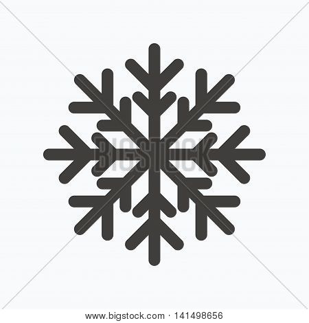 Snowflake icon. Air conditioning symbol. Gray flat web icon on white background. Vector