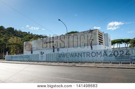 Rome, Italy - August 6Th 2016. Committee Headquarter For Rome Olympics 2024