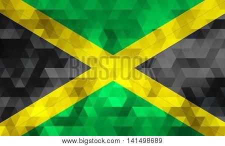 Flag of Jamaica on mosaic geometric background