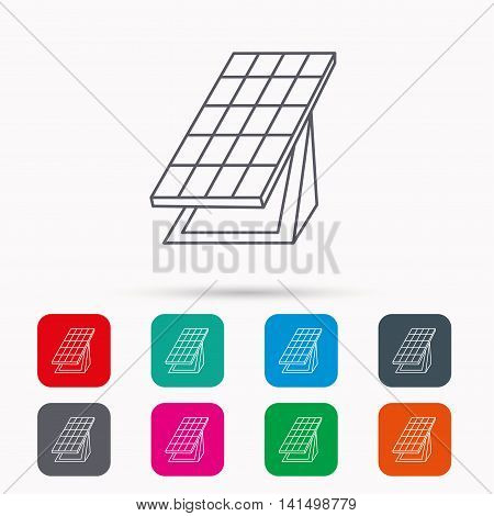 Solar collector icon. Sunlight energy generation sign. Innovation battery power symbol. Linear icons in squares on white background. Flat web symbols. Vector