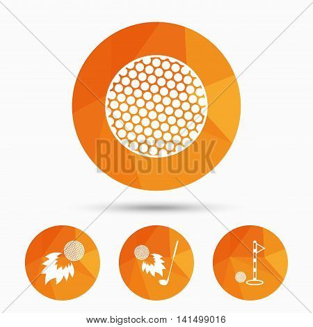 Golf ball icons. Fireball with club sign. Luxury sport symbol. Triangular low poly buttons with shadow. Vector