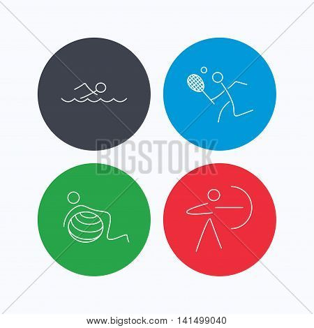 Swimming, tennis and gymnastics icons. Archery linear sign. Linear icons on colored buttons. Flat web symbols. Vector