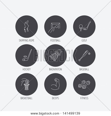 Skipping rope, football and golf icons. Hockey, baseball and badminton linear signs. Basketball, biceps and fitness sport icons. Linear icons in circle buttons. Flat web symbols. Vector
