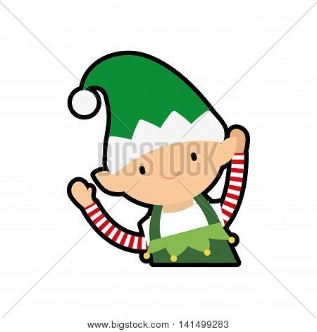 elf merry christmas cartoon celebration icon. Isolated and flat illustration. Vector graphic
