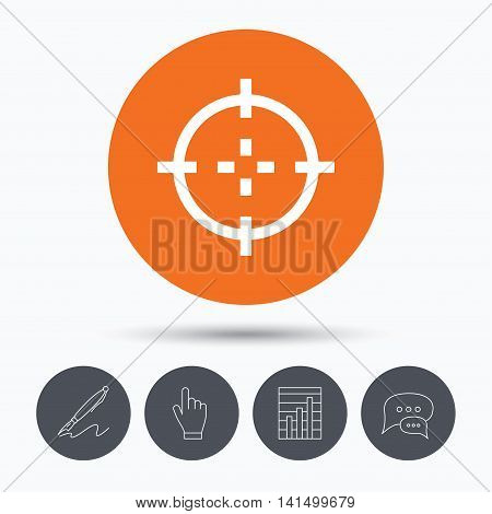 Target icon. Crosshair aim symbol. Speech bubbles. Pen, hand click and chart. Orange circle button with icon. Vector