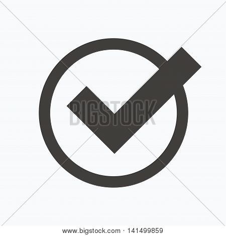 Tick icon. Check or confirm symbol. Gray flat web icon on white background. Vector