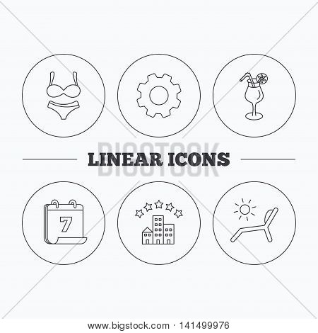 Lingerie, deck chair and cocktail icons. Hotel linear sign. Flat cogwheel and calendar symbols. Linear icons in circle buttons. Vector