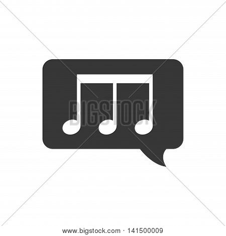 music note bubble sound melody icon. Isolated and flat illustration. Vector graphic