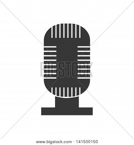 microphone, music sound melody icon. Isolated and flat illustration. Vector graphic