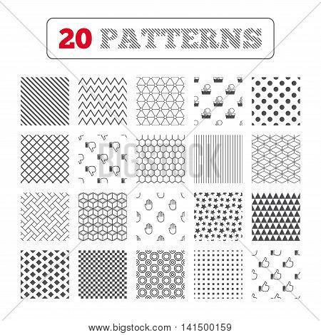 Ornament patterns, diagonal stripes and stars. Hand icons. Like and dislike thumb up symbols. Not machine washable sign. Stop no entry. Geometric textures. Vector