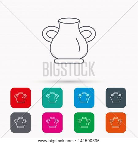 Vase icon. Decorative vintage amphora sign. Linear icons in squares on white background. Flat web symbols. Vector