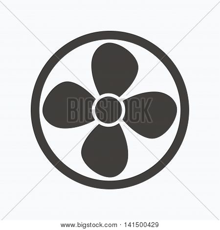 Ventilation icon. Air ventilator or fan symbol. Gray flat web icon on white background. Vector