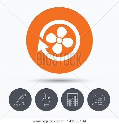 Ventilation icon. Air ventilator or fan symbol. Speech bubbles. Pen, hand click and chart. Orange circle button with icon. Vector