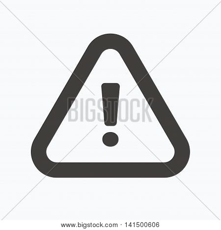 Warning icon. Attention exclamation mark symbol. Gray flat web icon on white background. Vector