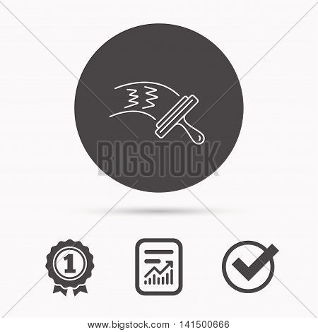 Washing windows icon. Cleaning sign. Report document, winner award and tick. Round circle button with icon. Vector
