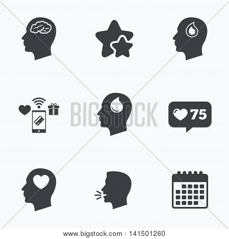 Head with brain icon. Male human think symbols. Blood drop donation sign. Love heart. Flat talking head, calendar icons. Stars, like counter icons. Vector