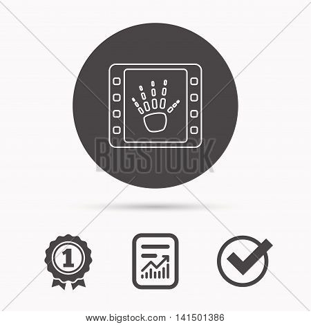 Hand X-ray icon. Human skeleton sign. Report document, winner award and tick. Round circle button with icon. Vector