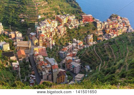 Aerial panoramic view of Manarola fishing village in Five lands, Cinque Terre National Park, Liguria, Italy.
