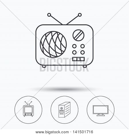 TV, PC case and retro radio icons. Retro TV linear sign. Linear icons in circle buttons. Flat web symbols. Vector