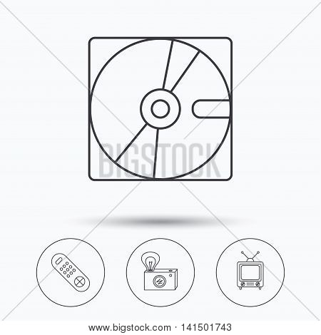 Hard disk, retro camera and TV remote icons. Vintage TV linear sign. Linear icons in circle buttons. Flat web symbols. Vector
