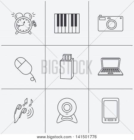 Photo camera, USB flash and notebook laptop icons. PC mouse, alarm clock and web camera linear signs. Tablet PC and music headphones icons. Linear icons on white background. Vector