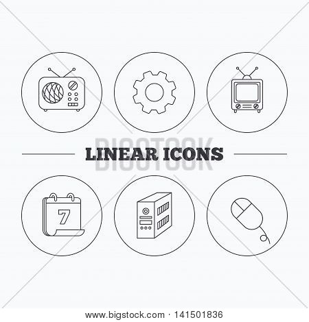 Radio, retro TV and PC mouse icons. PC case linear sign. Flat cogwheel and calendar symbols. Linear icons in circle buttons. Vector