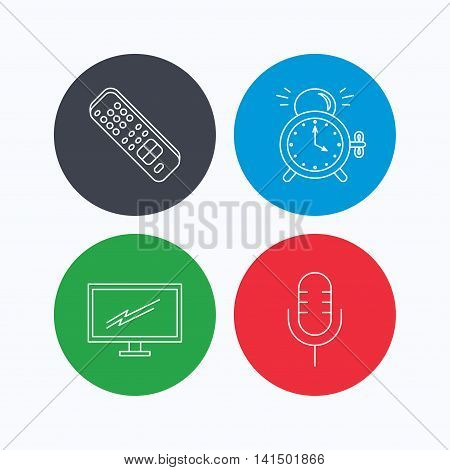 Microphone, alarm clock and TV remote icons. Widescreen TV linear sign. Linear icons on colored buttons. Flat web symbols. Vector