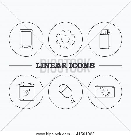 Tablet PC, USB flash and photo camera icons.PC mouse linear sign. Flat cogwheel and calendar symbols. Linear icons in circle buttons. Vector