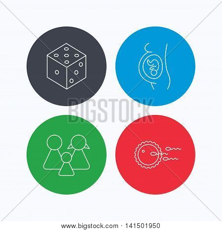 Pregnancy, family and family planning icons. Dice linear sign. Linear icons on colored buttons. Flat web symbols. Vector