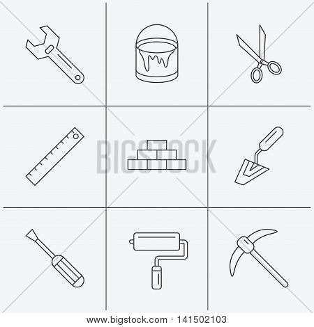 Screwdriver, scissors and adjustable wrench icons. Spatula, mining tool and paint roller linear signs. Brickwork, ruler and painting icons. Linear icons on white background. Vector