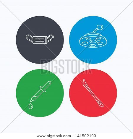 Medical mask, scalpel and pipette icons. Surgical lamp linear sign. Linear icons on colored buttons. Flat web symbols. Vector